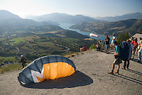 Saint Vincent-les-Forts, Lac de Serre Poncon, France, September 2007. Volantis is home to the paragliding school Inferno. In one week time, students learn to fly the paraglider and earn their mountain licence 1. Photo by Frits Meyst/Adventure4ever.com