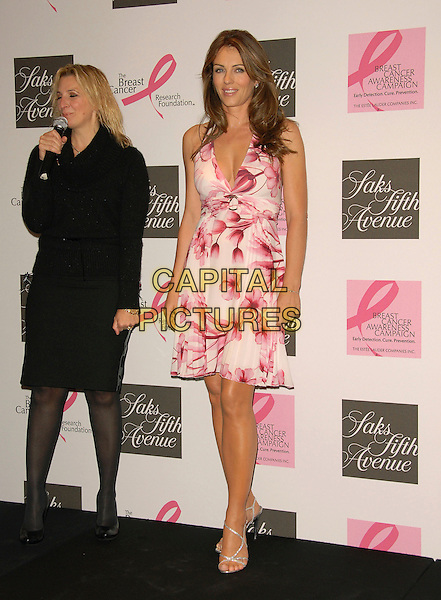 ELIZABETH HURLEY.makes an instore Appearance at Saks Fifth Avenue to Raise Awareness for Breast Cancer and to raise funds for The Breast Cancer Research Foundation at Saks Fifth Avenue in Beverly Hills, California, USA, October 05 2007..Liz full length pink and white red cream patterned print halterneck dress.CAP/DVS.©Debbie VanStory/Capital Pictures
