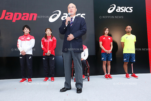 (L-R) Ryohei Kato, Saori Yoshida,  Hiroya Otsuki, Runa Imai, Atsushi Yamamoto (JPN), MAY 26, 2016 - : A press conference about presentation of Japan national team official sportswear for Rio de Janeiro Olympics 2016 in Tokyo, Japan. (Photo by Sho Tamura/AFLO SPORT)