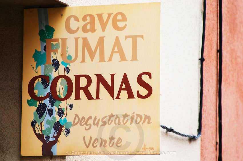 Sign Cave Fumat Cornas Degustation vente, tasting and sale. Cornas, Ardeche, Ardèche, France, Europe