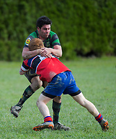 Action from the Manawatu senior 3 club rugby union match between Te Kawau and Bush at Rongotai Domain in Rongotea, New Zealand on Saturday, 7 July 2018. Photo: Dave Lintott / lintottphoto.co.nz
