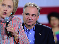 Annandale, VA - July 14, 2016: U.S. Senator Tim Kaine listens as democratic presidential candidate Hillary Clinton speaks during a campaign rally at the Ernst Community Cultural Center on the grounds of the Northern Virginia Community College, July 14, 2016. Sen. Kaine is reportedly being considered as Clinton's vice presidential running mate.  (Photo by Don Baxter/Media Images International)