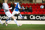 St Johnstone v Hibs..28.11.12      SPL.Gregory Tade fires his shot over the bar.Picture by Graeme Hart..Copyright Perthshire Picture Agency.Tel: 01738 623350  Mobile: 07990 594431
