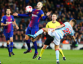 11th January 2018, Camp Nou, Barcelona, Spain; Copa del Rey football, round of 16, 2nd leg, Barcelona versus Celta Vigo; Andres iniesta controls the ball on his chest despite the attention from Celta's Emre Mor