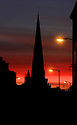 10/01/12...The sun sets behind St Oswald's Church, Ashbourne, Derbyshire, this evening.  ..All Rights Reserved - F Stop Press  - T: +44 (0)1335 324700.Local copyright law applies to all print & online usage. Fees charged will comply with standard space rates and usage for that country, region or state.