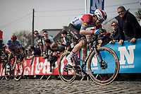 Bob JUNGELS (LUX/Deceuninck-Quick Step) cracking in the final ascent up the Paterberg<br /> <br /> 103rd Ronde van Vlaanderen 2019<br /> One day race from Antwerp to Oudenaarde (BEL/270km)<br /> <br /> ©kramon