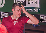 28 September 2014: Washington Nationals starting pitcher Jordan Zimmermann returns to the dugout after having thrown his first career no-hitter against the Miami Marlins at Nationals Park in Washington, DC. The Nationals shut out the Marlins 1-0, caping the season with the first Nationals no-hitter in modern times. The win also notched a 96 win season for the Nats: the best record in the National League. Mandatory Credit: Ed Wolfstein Photo *** RAW (NEF) Image File Available ***