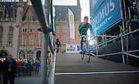 Ronde van Vlaanderen 2013..Thomas Voeckler (FRA) coming from the sign-in  podium
