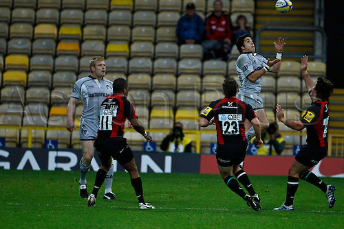 03.10.2010. Aviva Premiership Rugby Union. Leicester Tigers versus Saracens at Vicarage Road, Watford. Lucas Amorosino collects a high ball