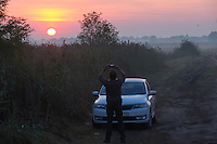 Illegal migrants near Roszke (about 174 km South of capital city Budapest), Hungary on August 30, 2015. ATTILA VOLGYI