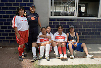 Mexico City, Mexico. Friday, May 4, 2007.  Santa Martha Acatitla, Mexico City's high security women's prison. Women in the red and white uniform are from the outside, they have formed a football team to play with the inmates, many have girlfriends on the inside.