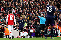 7th March 2020; Emirates Stadium, London, England; English Premier League Football, Arsenal versus West Ham United; Pablo Fornals of West Ham United is shown a yellow card