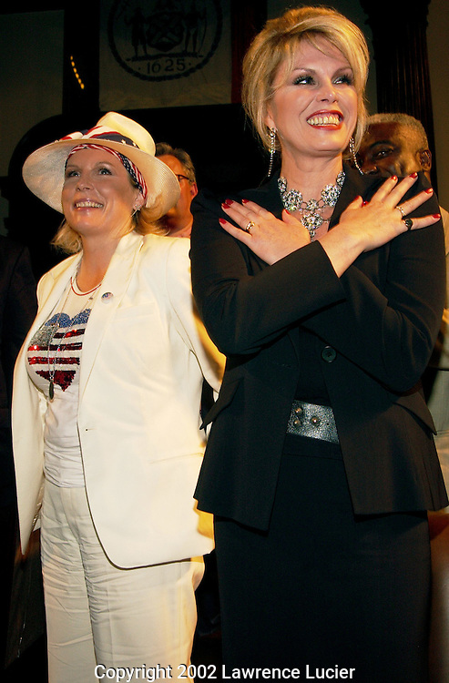 Actresses Jennifer Saunders (L) and Joanna Lumley (R) appear at the Absolutely Fabulous 2002 Lesbian, Gay, Bisexual, and Transgender Pride Awards Ceremony June 27, 2002, at City Hall in New York City.  The awards were presented by New York Senate Democratic Leader Martin Connor and the New York Democratic Conference.