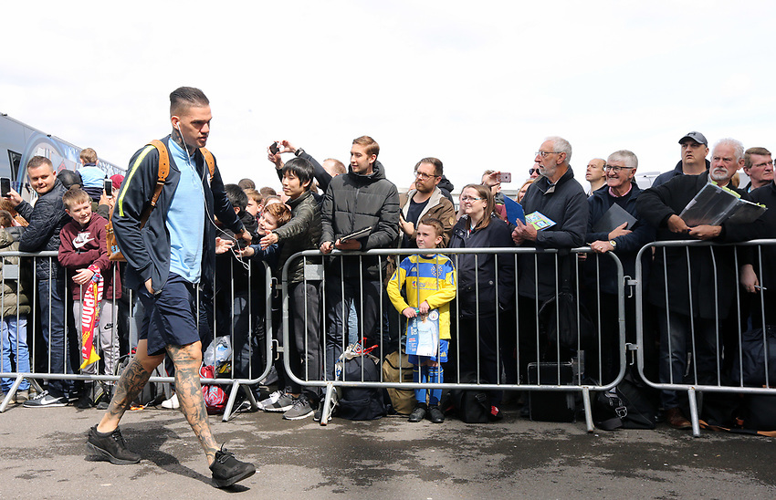 Manchester City's Ederson greets the waiting fans as he arrives at Turf Moor ahead of kick-off at Turf Moor<br /> <br /> Photographer Rich Linley/CameraSport<br /> <br /> The Premier League - Burnley v Manchester City - Sunday 28th April 2019 - Turf Moor - Burnley<br /> <br /> World Copyright © 2019 CameraSport. All rights reserved. 43 Linden Ave. Countesthorpe. Leicester. England. LE8 5PG - Tel: +44 (0) 116 277 4147 - admin@camerasport.com - www.camerasport.com