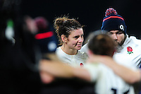 Sarah Hunter of England looks on in a post-match huddle. Old Mutual Wealth Series International match between England Women and Canada Women on November 26, 2016 at Twickenham Stadium in London, England. Photo by: Patrick Khachfe / Onside Images