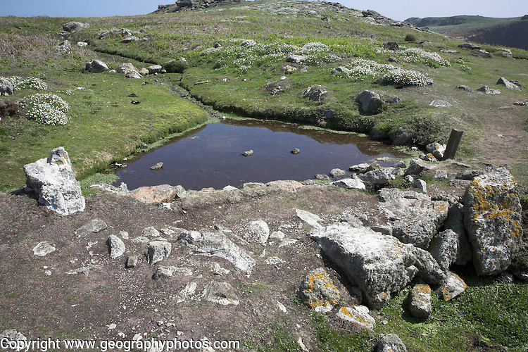 Ancient water storage system Skomer Island, Pembrokeshire, Wales