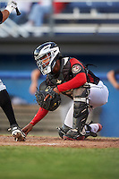Batavia Muckdogs catcher Pablo Garcia (7) during a game against the West Virginia Black Bears on June 30, 2016 at Dwyer Stadium in Batavia, New York.  Batavia defeated West Virginia 4-3.  (Mike Janes/Four Seam Images)
