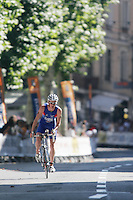 03 SEP 2006 - LAUSANNE, SWITZERLAND - Will Clarke (GBR) pushes on alone en route to winning the u23 Mens World Triathlon Championships. (PHOTO (C) NIGEL FARROW)