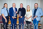Best Businesses at the Tralee Tidy Towns awards in the Rose Hotel on Tuesday night.<br /> L to r: Gda Irene Riordan, Billy Nolan (Castle St Assoc), Michael O&rsquo;Shea (Tralee Town House), Lorna Galvin (Every Occasion) presented by Ken Tobin (Tralee Chamber Alliance).