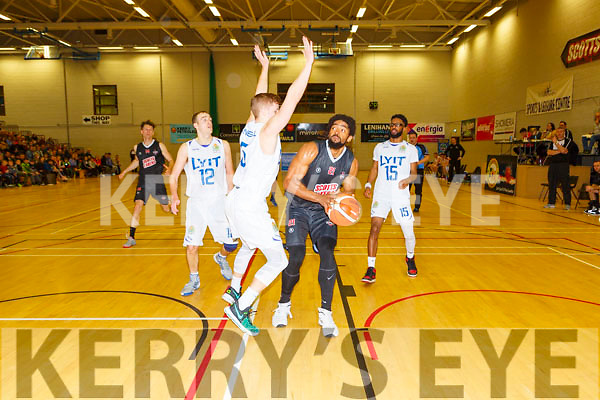 Antuan Bootle Scotts Lakers takes on  Dillon Muldoon Donegal during their game in Killarney Saturday night