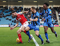 Fleetwood Town's Lewis Coyle competing with Gillingham's  Barry Fuller and Regan Charles-Cook<br /> <br /> Photographer Andrew Kearns/CameraSport<br /> <br /> The EFL Sky Bet League One - Gillingham v Fleetwood Town - Saturday 3rd November 2018 - Priestfield Stadium - Gillingham<br /> <br /> World Copyright &copy; 2018 CameraSport. All rights reserved. 43 Linden Ave. Countesthorpe. Leicester. England. LE8 5PG - Tel: +44 (0) 116 277 4147 - admin@camerasport.com - www.camerasport.com