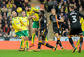 31st October 2017, Carrow Road, Norwich, England; EFL Championship football, Norwich City versus Wolverhampton Wanderers; Norwich City defender Grant Hanley battling header with Wolverhampton Wanderers midfielder Alfred N'Diaye