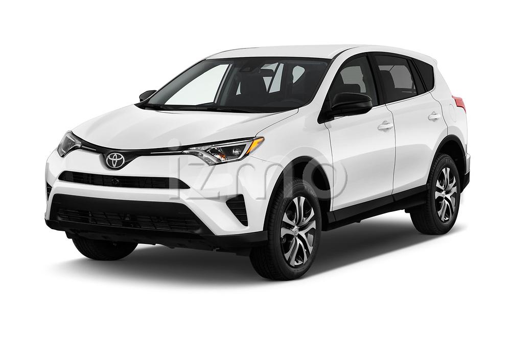 2017 Toyota RAV4 LE 5 Door SUV angular front stock photos of front three quarter view