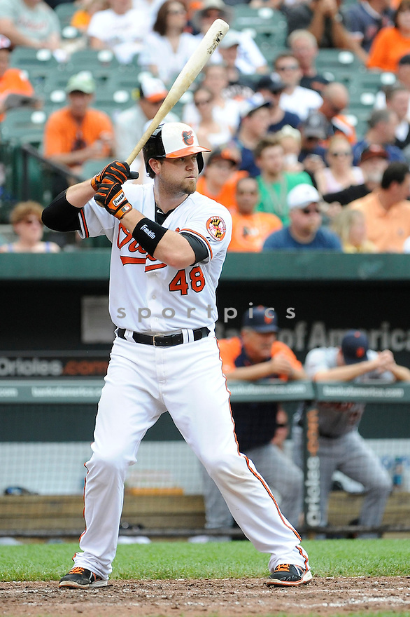 Baltimore Orioles Chris Snyder (48)  during a game against the Detroit Tigers on June 2, 2013 at Oriole Park in Baltimore, MD. The Orioles beat the Tigers 4-2.