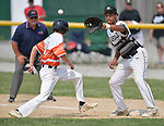 Waterloo's Josh Wittenauer (left) beats the pickoff throw back to Carbondale first baseman James Baltz in the Class 3A Salem baseball sectional championship game at Salem HS in Salem, IL on Saturday June 1, 2019.<br /> Tim Vizer/Special to STLhighschoolsports.com