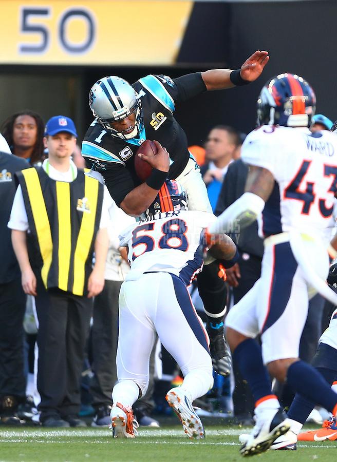 Feb 7, 2016; Santa Clara, CA, USA; Denver Broncos linebacker Von Miller (58 tackles Carolina Panthers quarterback Cam Newton (1) in Super Bowl 50 at Levi's Stadium. Mandatory Credit: Mark J. Rebilas-USA TODAY Sports