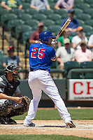 Round Rock Express designated hitter Brad Snyder #25 at bat during the Pacific Coast League baseball game against the New Orleans Zephyrs on May 5, 2014 at the Dell Diamond in Round Rock, Texas. The Zephyrs defeated the Express 13-4. (Andrew Woolley/Four Seam Images)