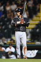 Jupiter Hammerheads outfielder Yefri Perez (12) at bat during a game against the Bradenton Marauders on April 18, 2015 at McKechnie Field in Bradenton, Florida.  Bradenton defeated Jupiter 4-1.  (Mike Janes/Four Seam Images)