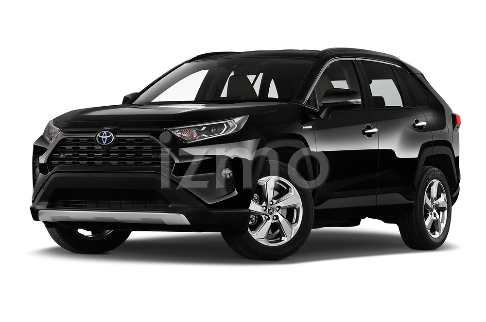 Stock pictures of low aggressive front three quarter view of 2019 Toyota RAV4 Premium-hybrid 5 Door SUV Low Aggressive