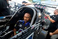 May 17, 2015; Commerce, GA, USA; NHRA top fuel driver Antron Brown during the Southern Nationals at Atlanta Dragway. Mandatory Credit: Mark J. Rebilas-USA TODAY Sports
