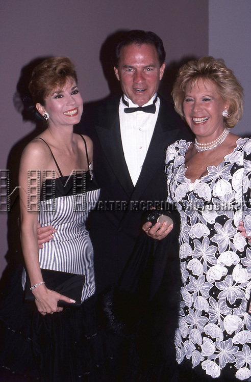 Kathie Lee Gifford, Frank Gifford and Dinah Shore on April 10, 1988 in New York City.