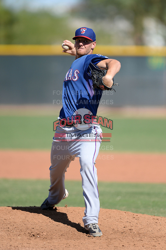 Texas Rangers pitcher Britt Robertshaw (41) during an Instructional League game against the Cleveland Indians on October 4, 2013 at Surprise Stadium Training Complex in Surprise, Arizona.  (Mike Janes/Four Seam Images)