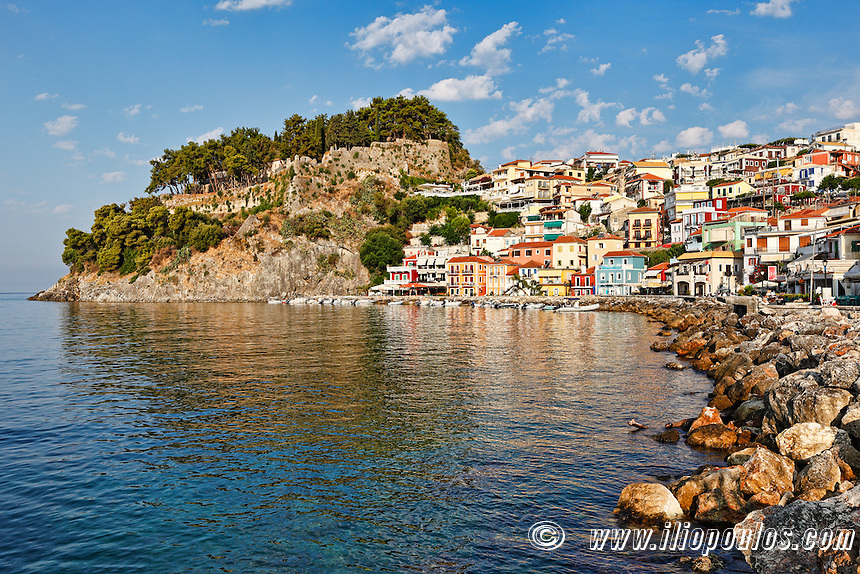 The bay with the colorful houses of Parga, Greece