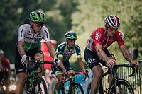 Andr&eacute; Greipel (DEU/Lotto-Soudal) &amp; Julien Vermote (BEL/DimensonData) 500 meters from the finish<br /> <br /> Stage 5: Lorient &gt; Quimper (203km)<br /> <br /> 105th Tour de France 2018<br /> &copy;kramon