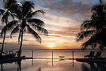 Taveuni, Fiji; sunset silhouette palm trees reflecting in the infinity pool at Paradise Taveuni Resort