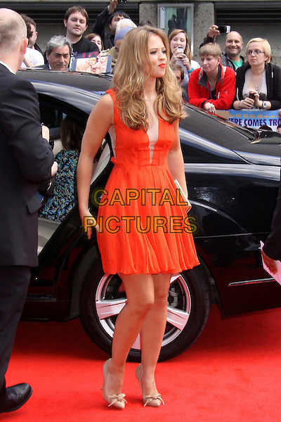 "Kimberley Walsh.The World Film Premiere of ""Horrid Henry: The Movie"" at BFI Southbank, London, England..July 24, 2011.full length red strapless dress sheer panel gold shoes car.CAP/COA/CC.©CC/COA/Capital ."
