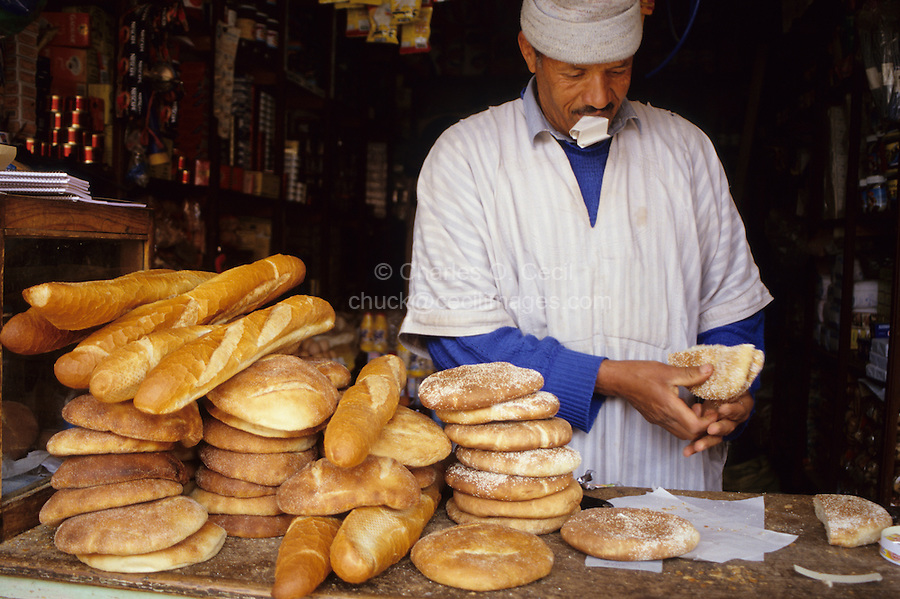 Ourika Valley, Morocco - Shop Vendor Selling Bread.