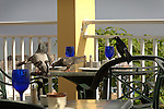Sandals Ocho Rios.pigeons and crow on breakfast patio eating crumbs