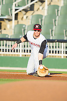 Kannapolis Intimidators first baseman Danny Hayes (32) stretches for a throw during the game against the Hickory Crawdads at CMC-Northeast Stadium on May 5, 2014 in Kannapolis, North Carolina.  The Intimidators defeated the Crawdads 5-2.  (Brian Westerholt/Four Seam Images)