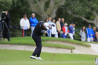 Lee Westwood (ENG) plays his 2nd shot on the 10th hole during Saturday's storm delayed Round 2 of the Andalucia Valderrama Masters 2018 hosted by the Sergio Foundation, held at Real Golf de Valderrama, Sotogrande, San Roque, Spain. 20th October 2018.<br /> Picture: Eoin Clarke | Golffile<br /> <br /> <br /> All photos usage must carry mandatory copyright credit (&copy; Golffile | Eoin Clarke)