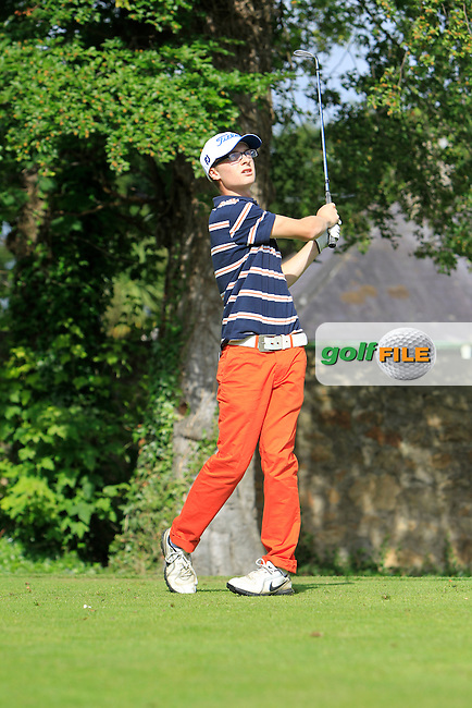 Dylan Finlay (Dun Laoghaire) on the 2nd tee during Round 1 of the Grange Dublin Boys on Monday 21th July 2014.<br /> Picture:  Thos Caffrey / www.golffile.ie