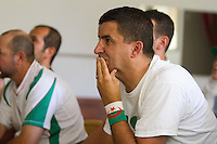 San Jose, CA - Monday, June 30, 2014: Algerian Anis Cherif of Campbell watches the Algeria vs. Germany round of 16 match at the Arab Cultural Center in San Jose. A group of around 30 Algerians watched the Algeria vs. Germany round of 16 match at the Arab Cultural Center.
