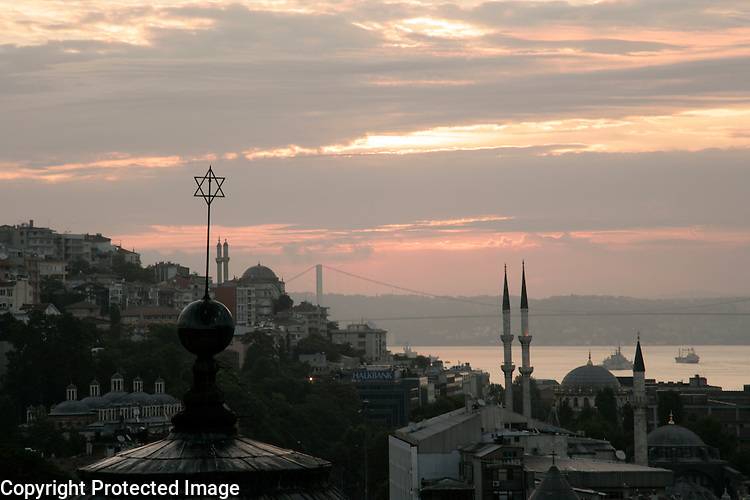 View over Beyoglu and the Bosphorus, note the synagogue roof in the foreground
