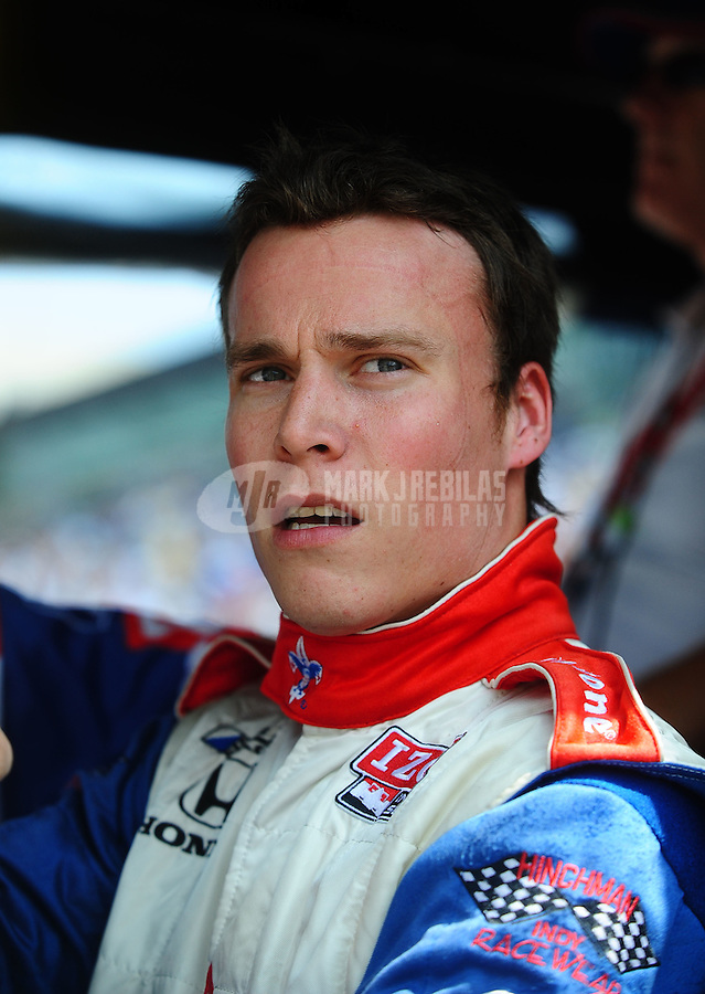 May 28, 2010; Indianapolis, IN, USA; IndyCar Series driver Alex Lloyd during carb day prior to the Indianapolis 500 at the Indianapolis Motor Speedway. Mandatory Credit: Mark J. Rebilas-