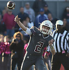 William Kender #2, Mepham quarterback, throws a pass for a touchdown in overtime of a Nassau County Conference II varsity football game against MacArthur at Mepham High School against MacArthur on Saturday, Oct. 20, 2018. Mepham won by a score of 35-34.