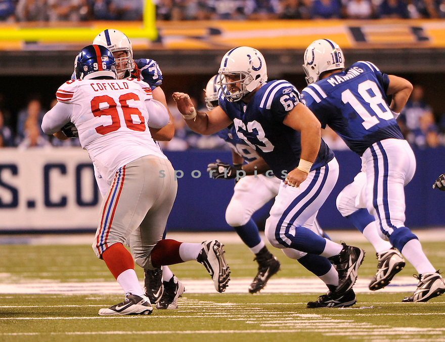 JEFF SATURDAY, of the Indianapolis Colts, in action during the Colts game against the New York Giants on September 19, 2010 in Indianapolis, Indiana...The Colts win 38-14